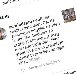 reactie op instagram
